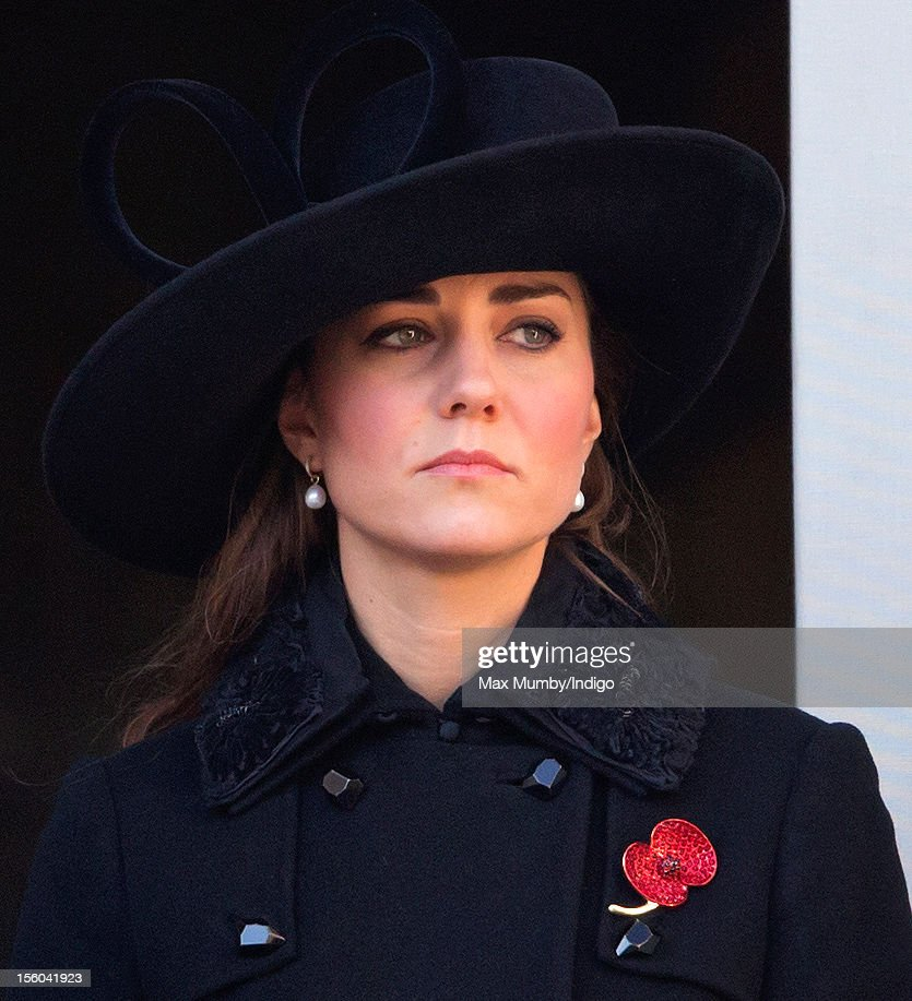Catherine, Duchess of Cambridge attends the annual Remembrance Sunday Service at the Cenotaph, Whitehall on November 11, 2012 in London, England. Remembrance Sunday tributes were carried out across the nation to pay respects to all who those who lost their lives in current and past conflicts, including the First and Second World Wars.