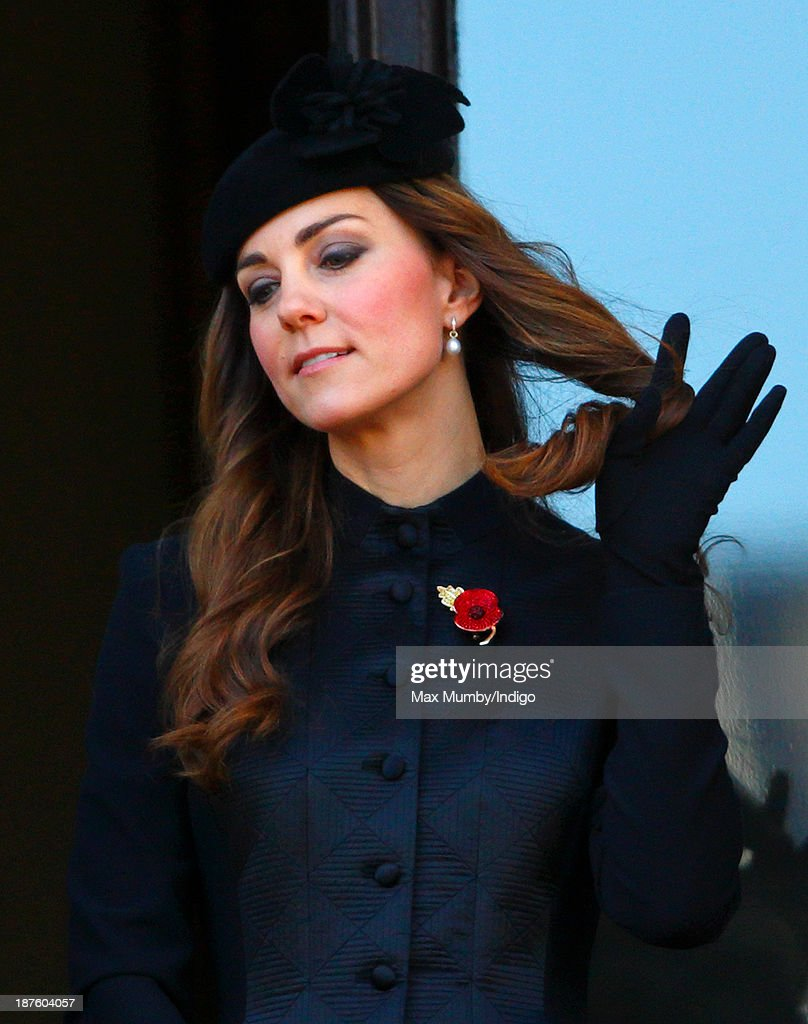 Catherine, Duchess of Cambridge attends the annual Remembrance Sunday Service at the Cenotaph on November 10, 2013 in London, United Kingdom. People across the UK gathered to pay tribute to service personnel who have died in the two World Wars and subsequent conflicts, as part of the annual Remembrance Sunday ceremonies.