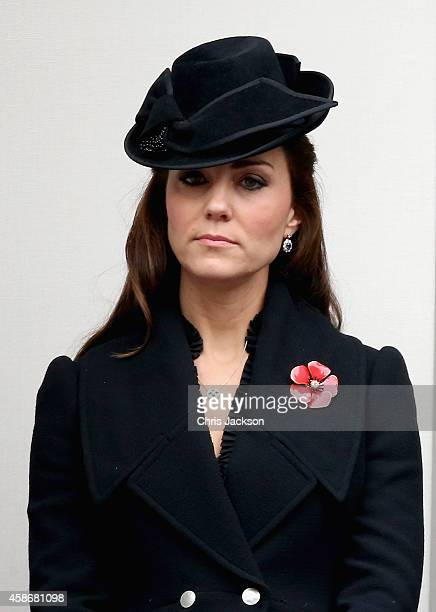 Catherine Duchess of Cambridge attends the annual Remembrance Sunday Service at the Cenotaph on Whitehall on November 9 2014 in London United Kingdom...