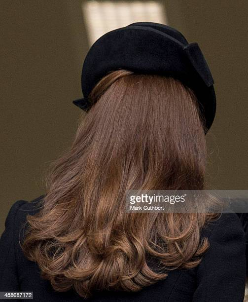 Catherine Duchess of Cambridge attends the annual Remembrance Sunday Service at the Cenotaph on Whitehall on November 9 2014 in London United Kingdom