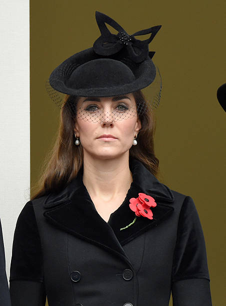 Catherine Duchess of Cambridge attends the annual Remembrance Sunday Service at the Cenotaph Whitehall on November 8 2015 in London England