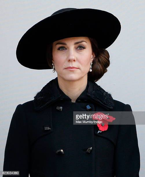 Catherine Duchess of Cambridge attends the annual Remembrance Sunday Service at the Cenotaph on Whitehall on November 13 2016 in London England The...