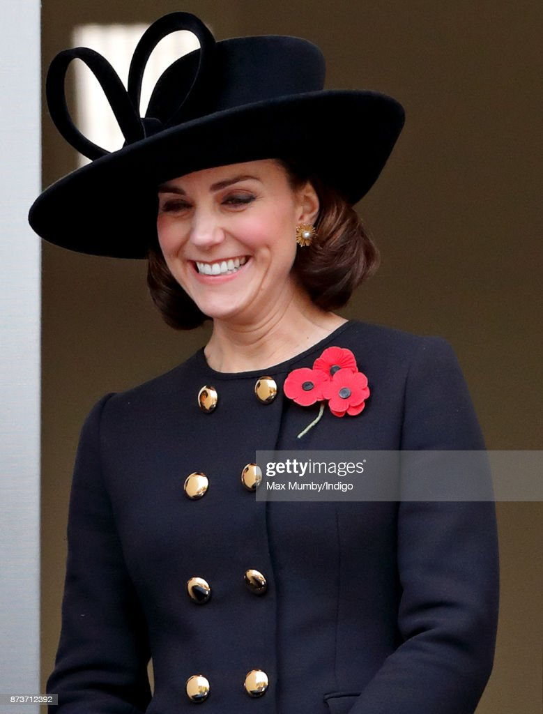 Catherine, Duchess of Cambridge attends the annual Remembrance Sunday Service at The Cenotaph on November 12, 2017 in London, England. This year marks the first time that Queen Elizabeth II watched the service from a balcony rather than lay her own wreath, instead Prince Charles, Prince of Wales laid her wreath on her behalf.