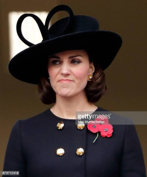 Catherine Duchess of Cambridge attends the annual Remembrance Sunday Service at The Cenotaph on November 12 2017 in London England This year marks...