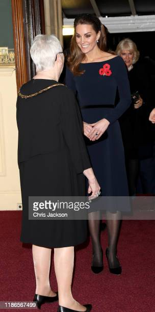 Catherine Duchess of Cambridge attends the annual Royal British Legion Festival of Remembrance at the Royal Albert Hall on November 09 2019 in London...