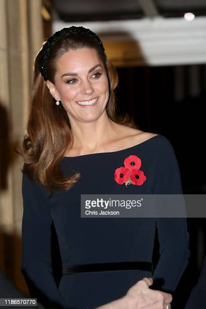 Catherine, Duchess of Cambridge attends the annual Royal British Legion Festival of Remembrance at the Royal Albert Hall on November 09, 2019 in...