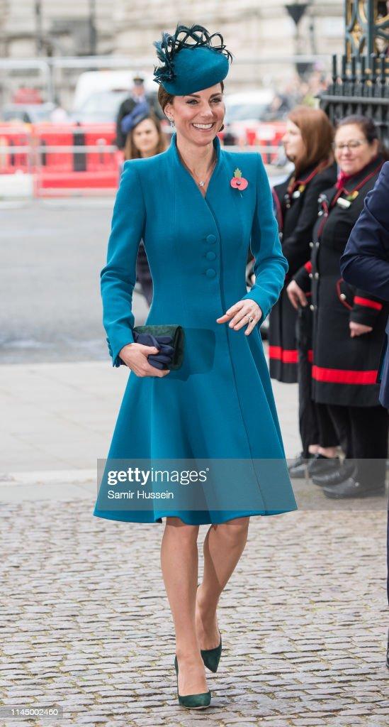 GBR: Duchess Of Cambridge Attends ANZAC Day Service