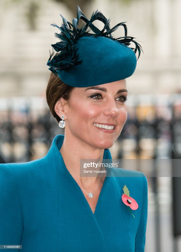GBR: Duchess Of Cambridge Attends ANZAC Day Service