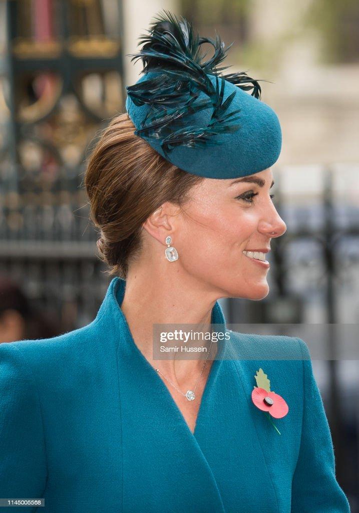 Duchess Of Cambridge Attends ANZAC Day Service : News Photo