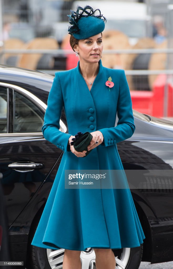 Duchess Of Cambridge Attends ANZAC Day Service : News Photo