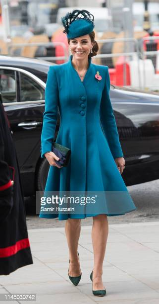 Catherine Duchess of Cambridge attends the ANZAC Day Service of Commemoration and Thanksgiving at Westminster Abbey on April 25 2019 in London United...