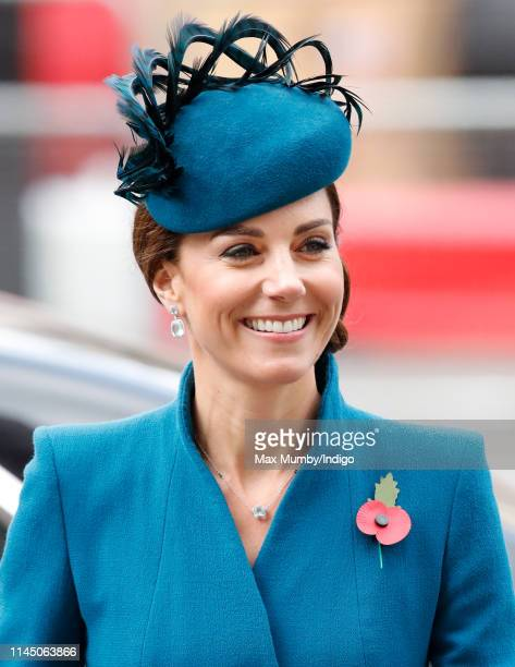 Catherine Duchess of Cambridge attends the ANZAC Day Service of Commemoration and Thanksgiving at Westminster Abbey on April 25 2019 in London...