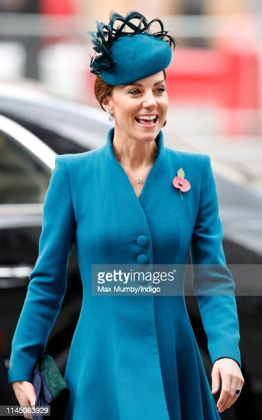 Catherine, Duchess of Cambridge attends the ANZAC Day Service of Commemoration and Thanksgiving at Westminster Abbey on April 25, 2019 in London,...