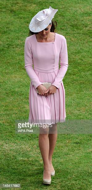 Catherine Duchess of Cambridge attends the Buckingham Palace garden party on May 29 2012 in London England ahead of the main weekend of celebrations...