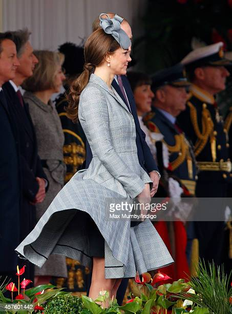 Catherine Duchess of Cambridge attends the ceremonial welcome for Singapore's President Tony Tan Keng Yam at the start of a state visit at Horse...