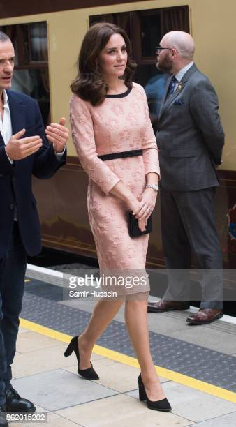 Catherine Duchess of Cambridge attends the Charities Forum Event on board the Belmond Britigh Pullman train at Paddington Station on October 16 2017...
