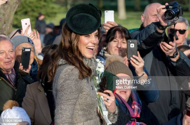 Catherine Duchess of Cambridge attends the Christmas Day Church service at Church of St Mary Magdalene on the Sandringham estate on December 25 2019...