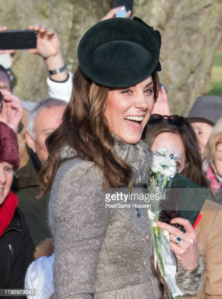 Catherine, Duchess of Cambridge attends the Christmas Day Church service at Church of St Mary Magdalene on the Sandringham estate on December 25,...