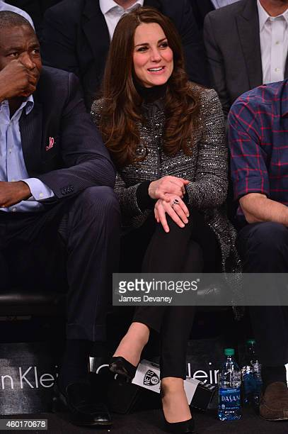 Catherine Duchess of Cambridge attends the Cleveland Cavaliers vs Brooklyn Nets game at Barclays Center on December 8 2014 in the Brooklyn borough of...