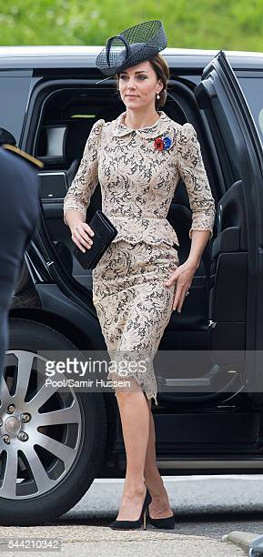 Catherine Duchess of Cambridge attends the commemoration of the Battle of the Somme at the Commonwealth War Graves Commission Thiepval Memorial on...