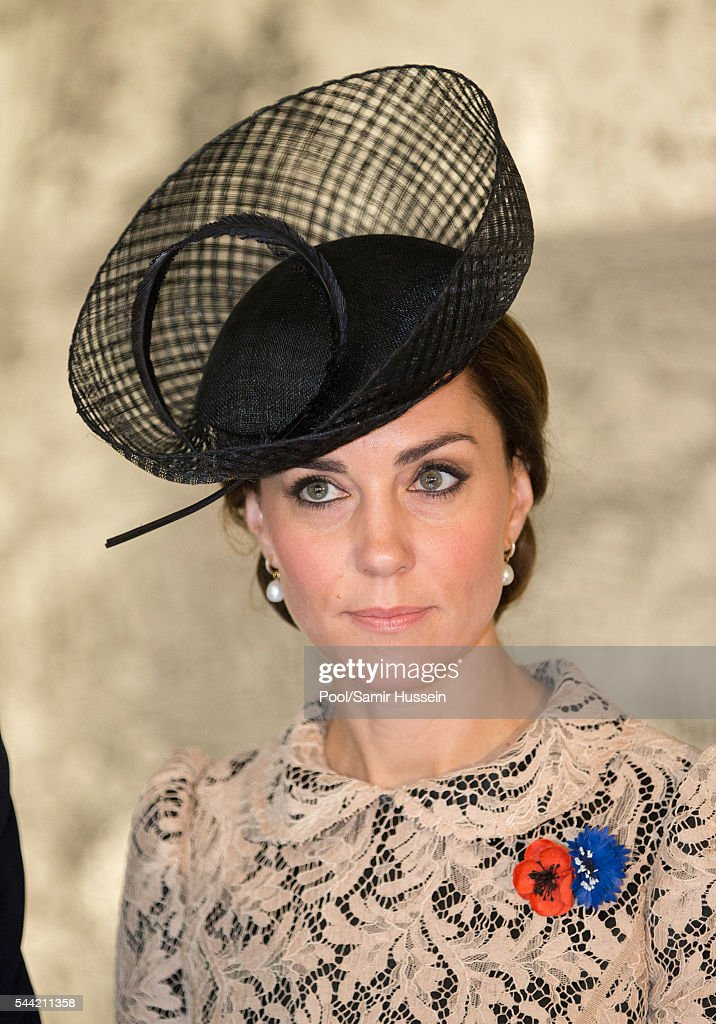 Catherine, Duchess of Cambridge attends the commemoration of the Battle of the Somme at the Commonwealth War Graves Commission Thiepval Memorial on July 1, 2016 in Thiepval, France.
