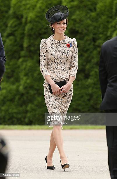 Catherine Duchess of Cambridge attends The Commemoration of the Centenary of The Battle of the Somme at The Commonwealth War Graves Commision...