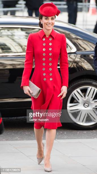 Catherine Duchess of Cambridge attends the Commonwealth Day service at Westminster Abbe6 on March 11 2019 in London England