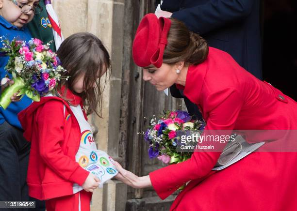 Catherine Duchess of Cambridge attends the Commonwealth Day service at Westminster Abbey on March 11 2019 in London England