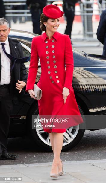 Catherine, Duchess of Cambridge attends the Commonwealth Day service at Westminster Abbey on March 11, 2019 in London, England.