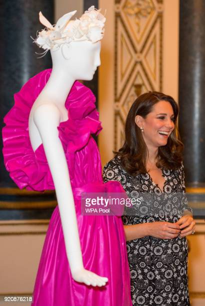Catherine Duchess of Cambridge attends The Commonwealth Fashion Exchange Reception at Buckingham Palace on February 19 2018 in London England