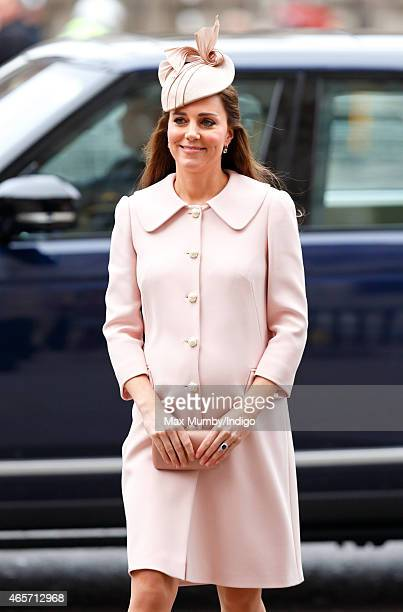 Catherine Duchess of Cambridge attends the Commonwealth Observance Service at Westminster Abbey on March 9 2015 in London England