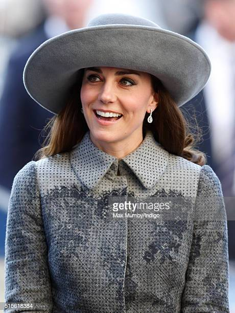 Catherine Duchess of Cambridge attends the Commonwealth Observance Day Service at Westminster Abbey on March 14 2016 in London England The service is...