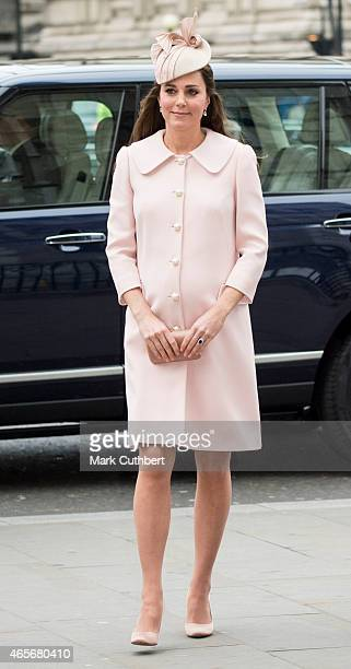 Catherine Duchess of Cambridge attends the Commonwealth Service at Westminster Abbey on March 9 2015 in London England