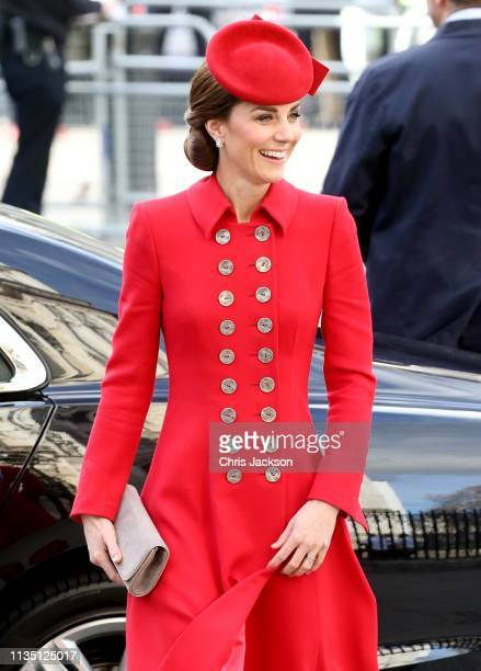 Catherine Duchess of Cambridge attends the Commonwealth Service on Commonwealth Day at Westminster Abbey on March 11 2019 in London England The...