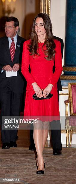 Catherine Duchess of Cambridge attends the Dramatic Arts reception at Buckingham Palace on February 17 2014 in London England