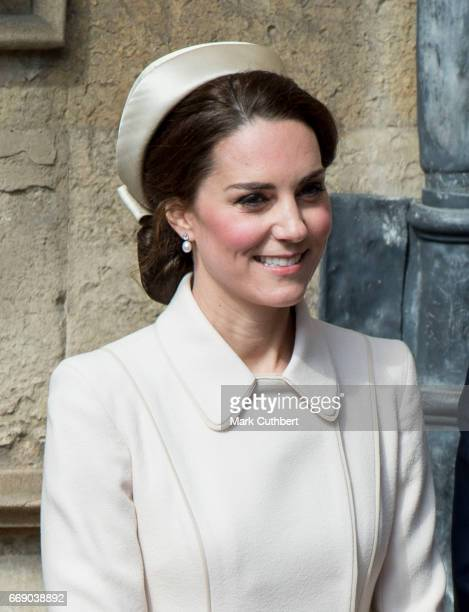 Catherine Duchess of Cambridge attends the Easter Day service at St George's Chapel on April 16 2017 in Windsor England