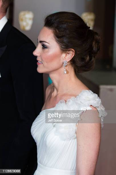 Catherine, Duchess of Cambridge attends the EE British Academy Film Awards at Royal Albert Hall on February 10, 2019 in London, England.