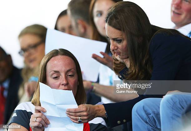 Catherine Duchess of Cambridge attends the evening session at Tollcross International Swimming Centre during day five of the Glasgow 2014...