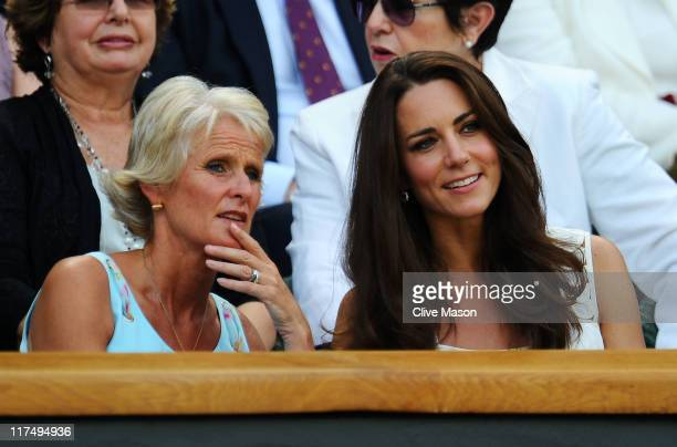 Catherine Duchess of Cambridge attends the fourth round match between Andy Murray of Great Britain and Richard Gasquet of France on Day Seven of the...