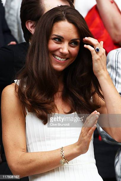 Catherine Duchess of Cambridge attends the fourth round match between Tsvetana Pironkova of Bulgaria and Venus Williams of the United States on Day...