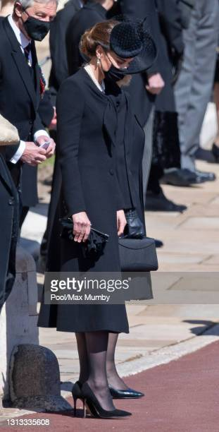 Catherine, Duchess of Cambridge attends the funeral of Prince Philip, Duke of Edinburgh at St. George's Chapel, Windsor Castle on April 17, 2021 in...