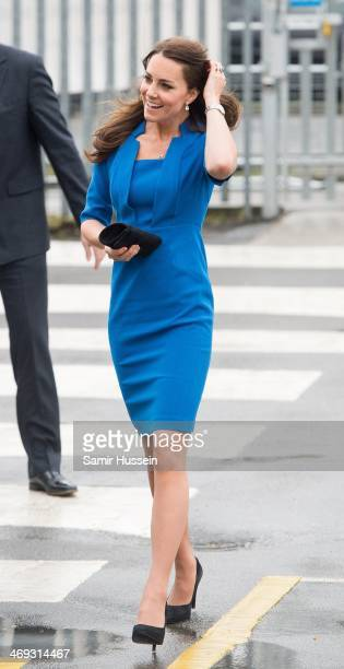 Catherine, Duchess of Cambridge attends the ICAP Art Room opening at Northolt High School on February 14, 2014 in London, England.