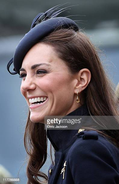 Catherine, Duchess of Cambridge attends the Irish Guards Medal Parade at the Victoria Barracks on June 25, 2011 in Windsor, England. The Duchess of...
