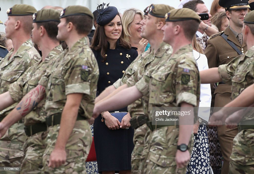 Catherine, Duchess of Cambridge attends the Irish Guards Medal Parade at the Victoria Barracks on June 25, 2011 in Windsor, England. The Duchess of Cambridge and Duke of Cambridge are at the barracks to present service medals to members of the Irish Guards