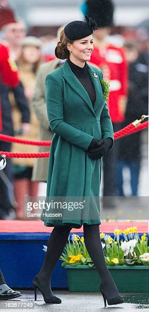 Catherine Duchess of Cambridge attends the Irish Guards' St Patrick's Day Parade at Mons Barracks on March 17 2013 in Aldershot England