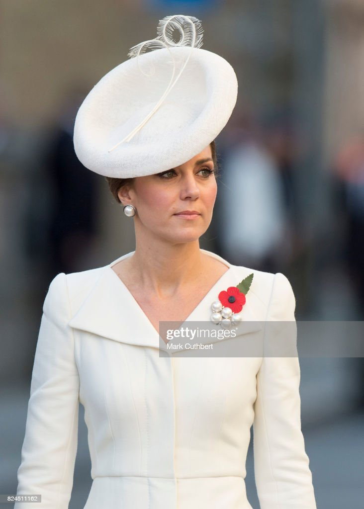 Catherine, Duchess of Cambridge attends the Last Post ceremony at the Commonwealth War Graves Commission Ypres (Menin Gate) Memorial on July 30, 2017 in Ypres, Belgium. The commemorations mark the centenary of Passchendaele - The Third Battle of Ypres.