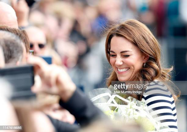 Catherine Duchess of Cambridge attends the launch the King's Cup Regatta at the Cutty Sark Greenwich on May 7 2019 in London England The Regatta will...