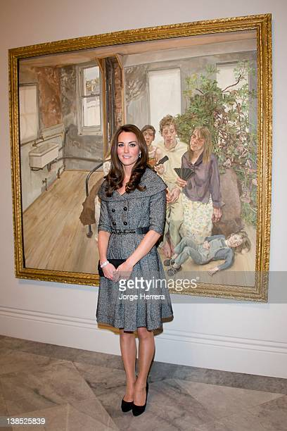 Catherine, Duchess of Cambridge attends the Lucian Freud Portraits exhibition at the National Portrait Gallery on February 8, 2012 in London, England.