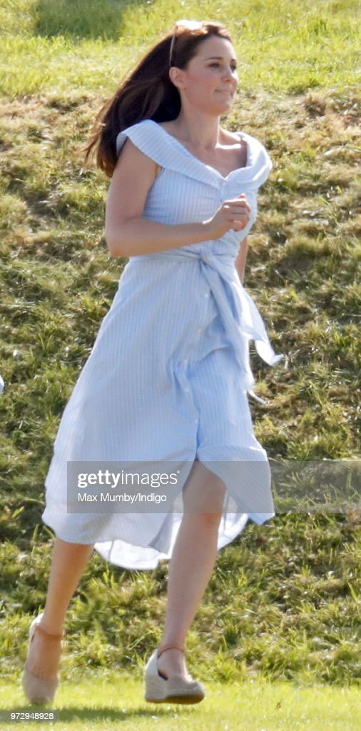 Catherine, Duchess of Cambridge attends the Maserati Royal Charity Polo Trophy at the Beaufort Polo Club on June 10, 2018 in Gloucester, England.