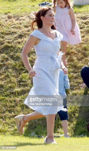 Catherine Duchess of Cambridge attends the Maserati Royal Charity Polo Trophy at the Beaufort Polo Club on June 10 2018 in Gloucester England